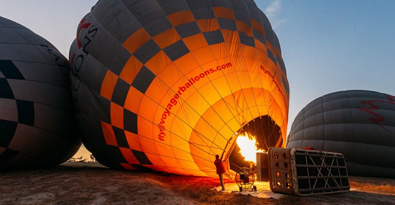 Hot Air Balloon filling up in Cappadocia