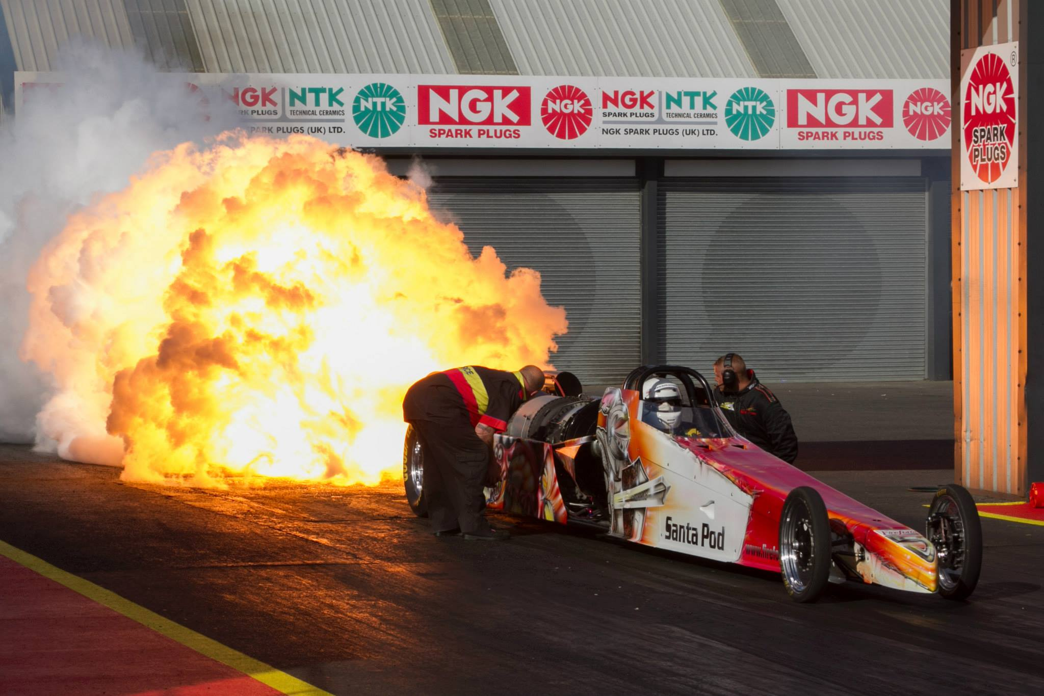 Race car with flames at Flame and Thunder