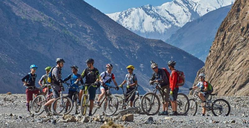 Group on Treasures of the Himalayas Mountain Biking