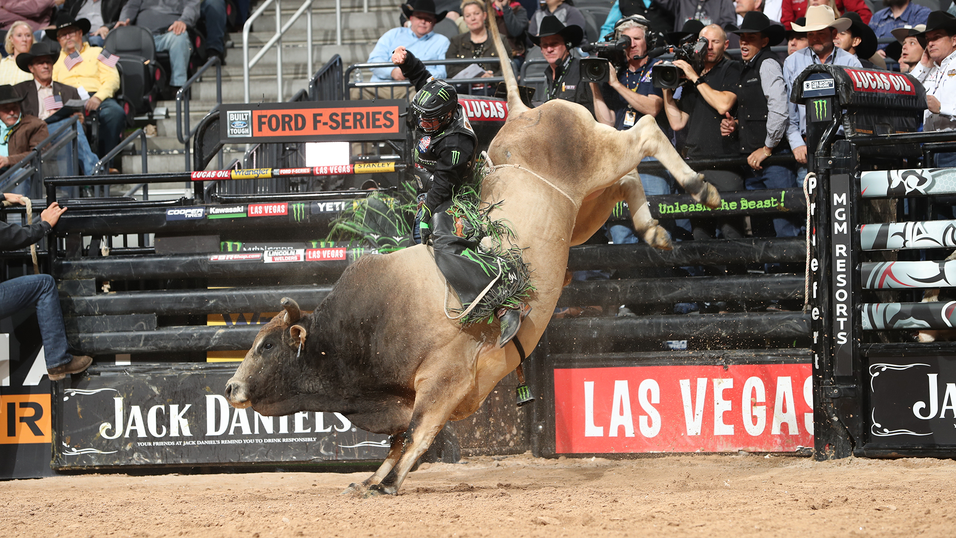 Rider on bull at Professional Bull Riders Championships