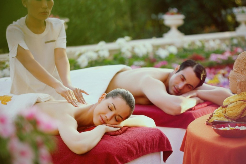 Couples getting massages at Ananda Himalayan Couples Retreat