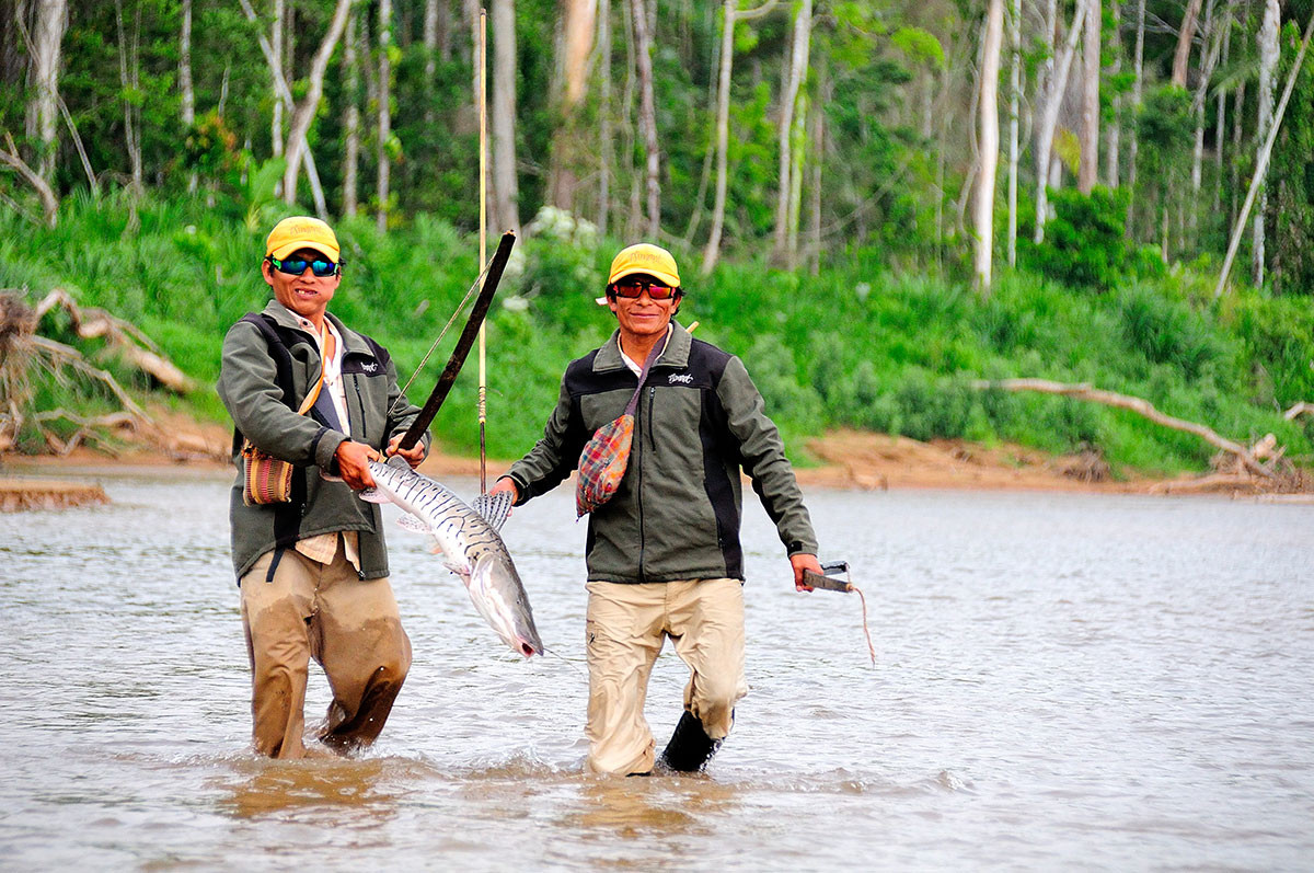 Two men Fly Fishing in Amazon