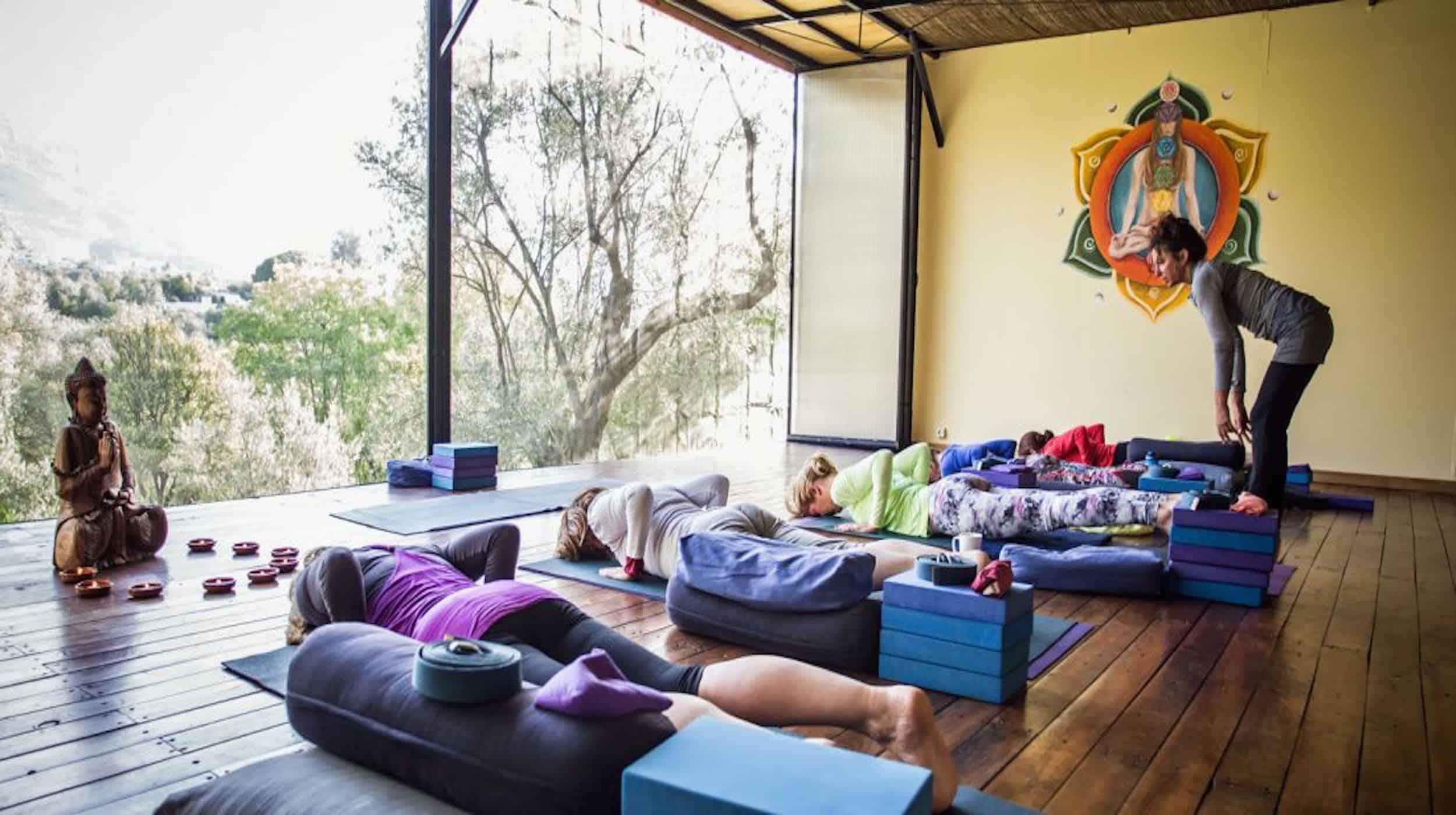 Yoga class at kaliyoga Raw Food Yoga Retreat Spain