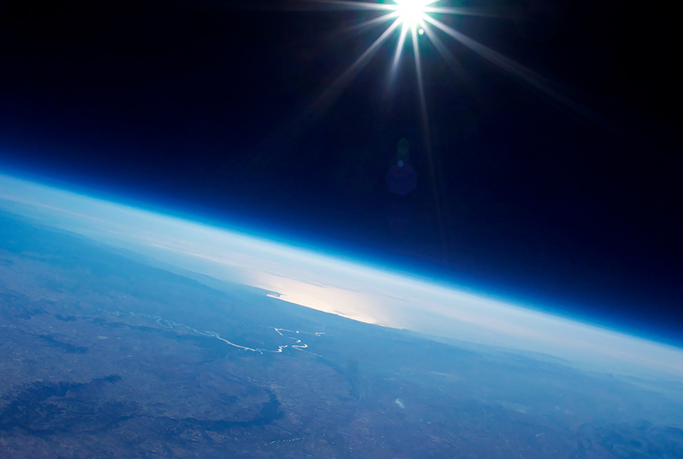 Earth view on High Altitude Balloon Ride