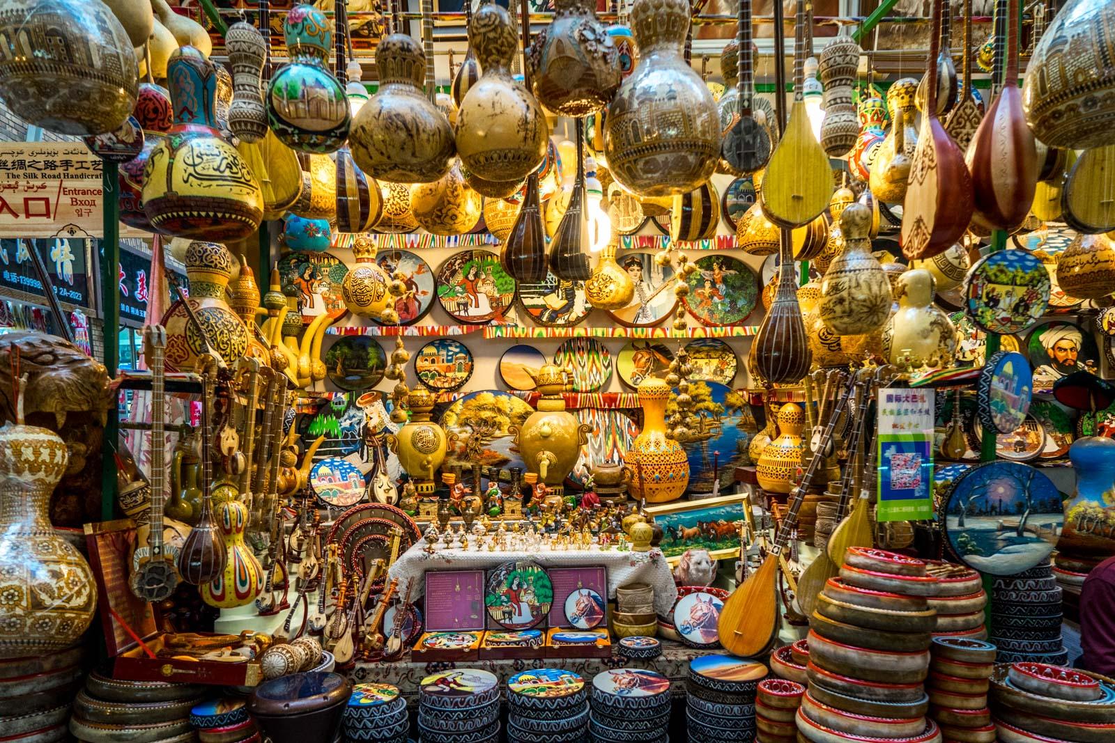 Colourfull market stall at Kashgar's bazaar
