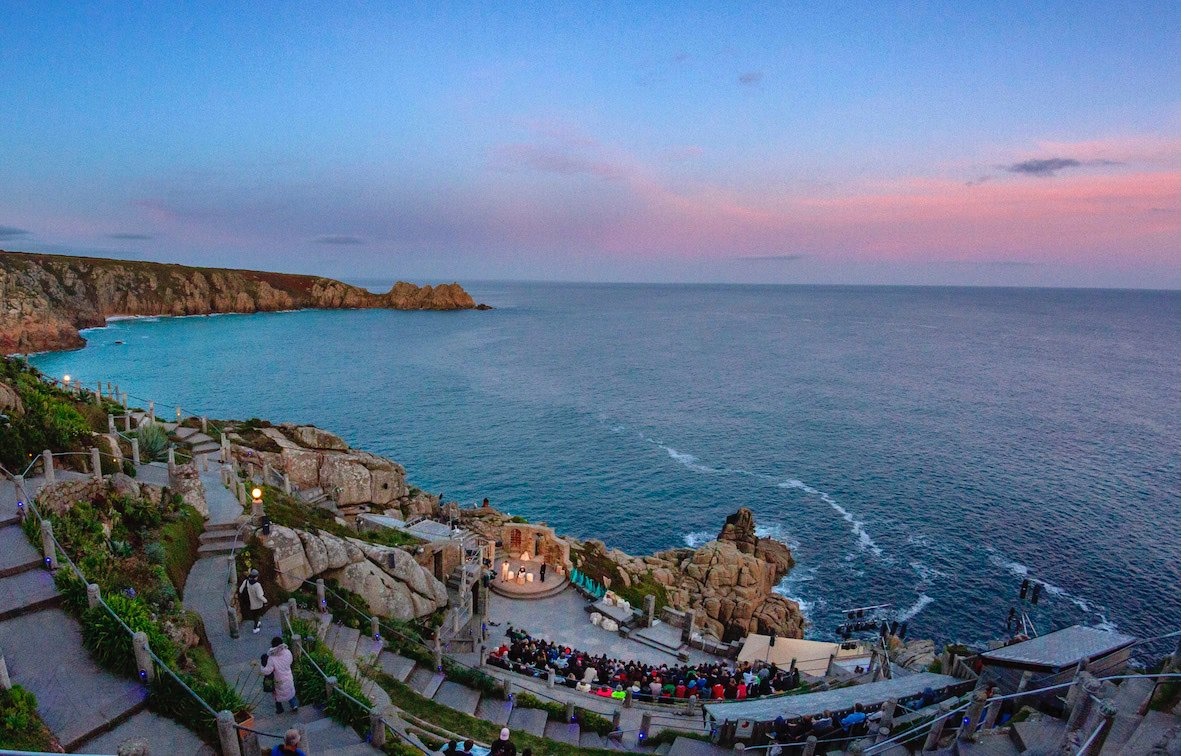 Sunset view over The Minack theatre