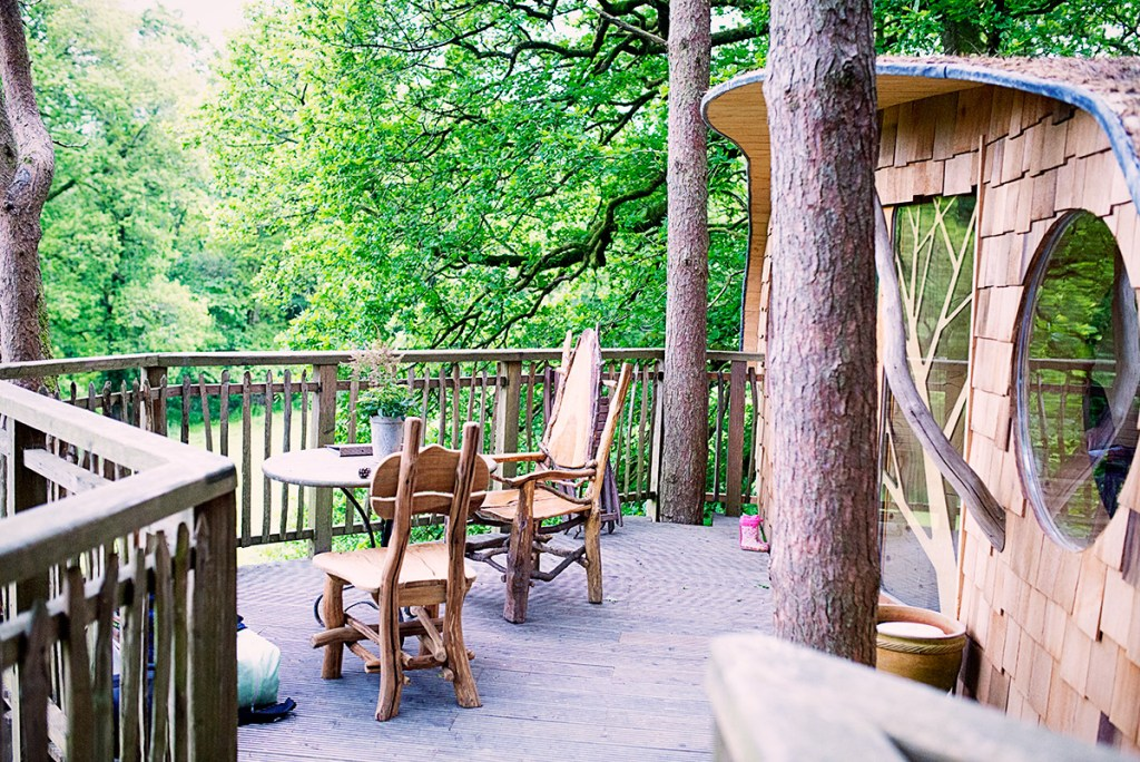 Outdoor decking at Cosy Welsh Treehouse