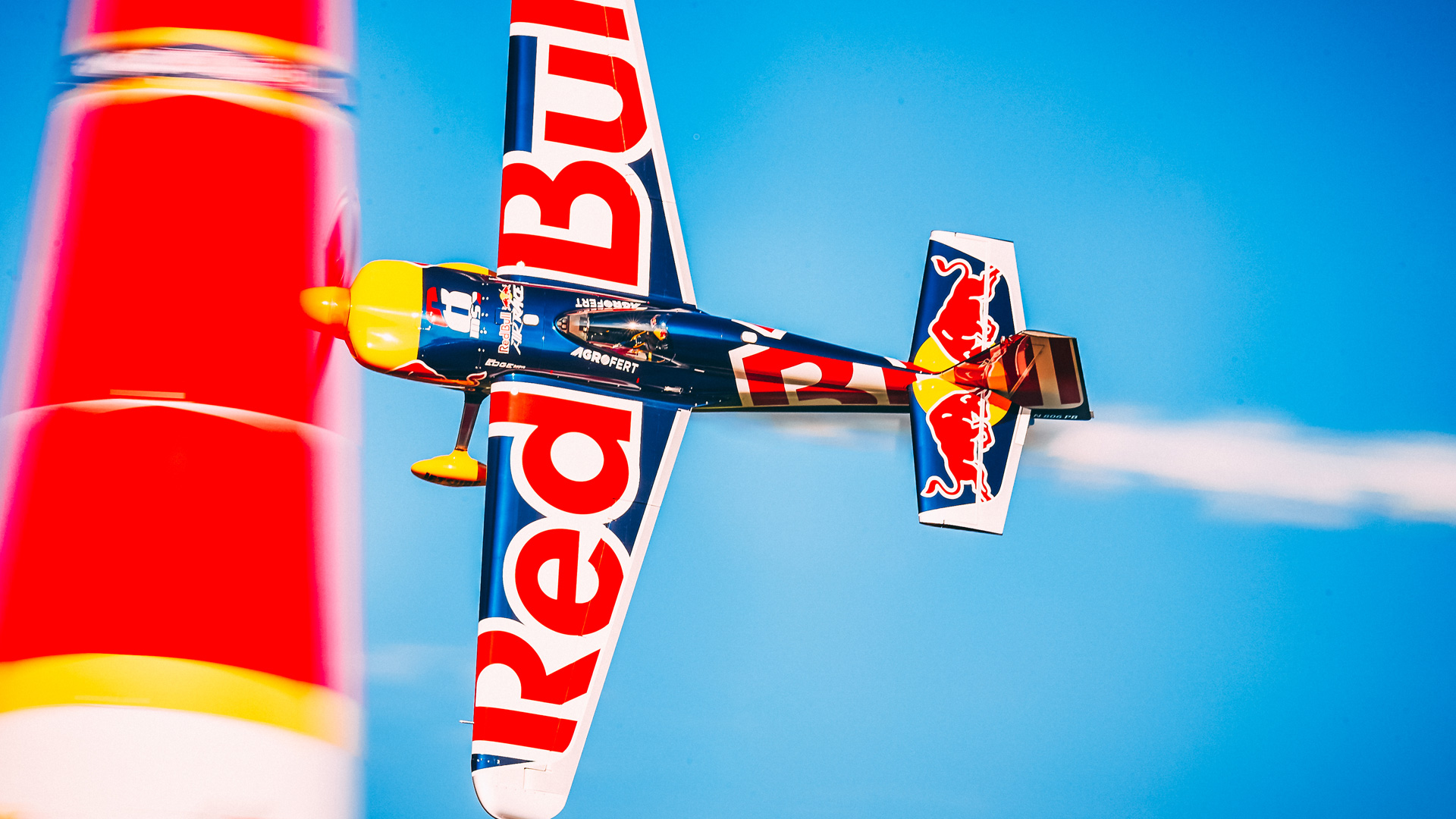 Red Bull Air racing plane flying