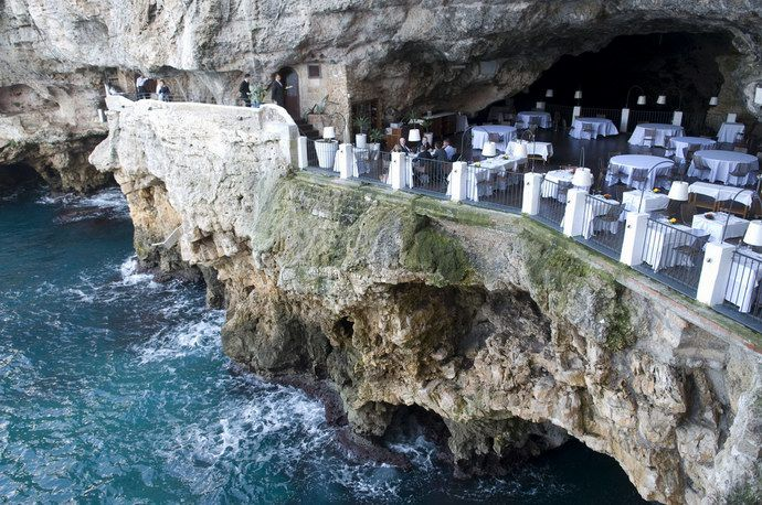 Sea view into caves at Ristorante Grotta Palazzese
