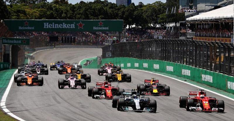 Cars on track at Brazilian Grand Prix