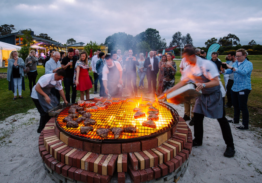 Chefs cooking on open fire at Margaret River Gourmet Escape