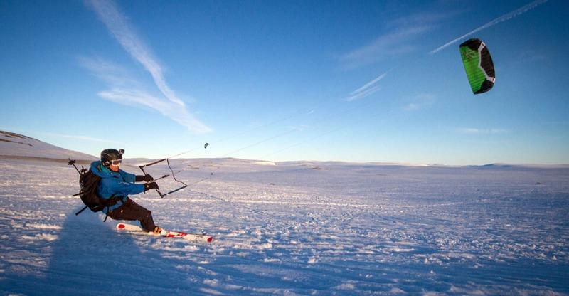 snowkiter on ice in antarctica