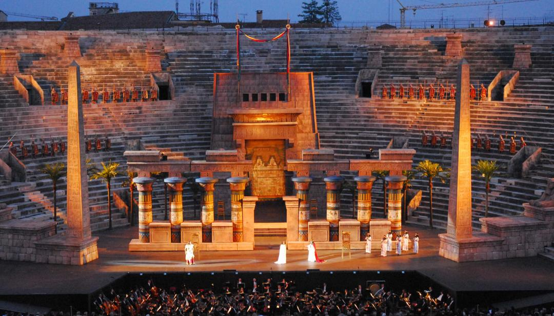 arena di verona ancient stage with performers