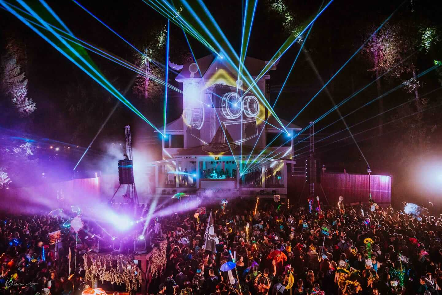 stage, light show and crowd at shambhala
