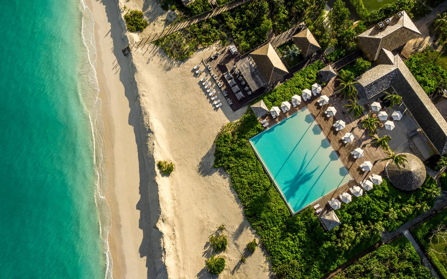 aerial view of Turks and Caicos Retreat with swimming pool
