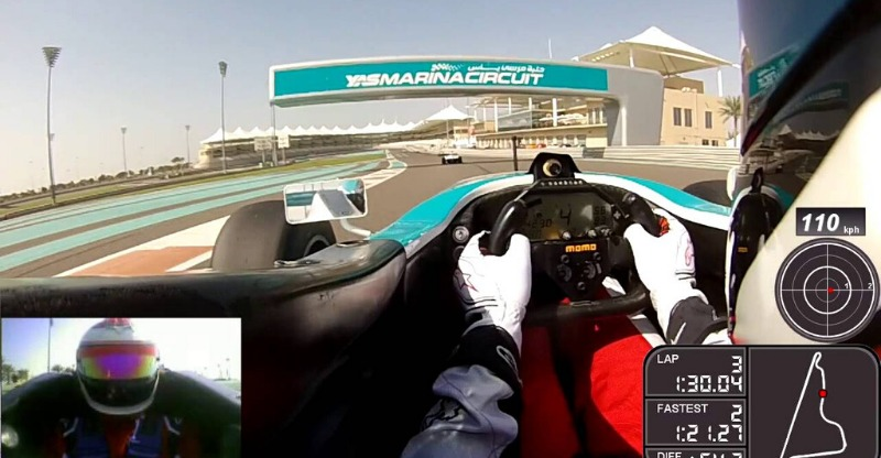 driver's eye view of F3000 experience at Yas Marina track