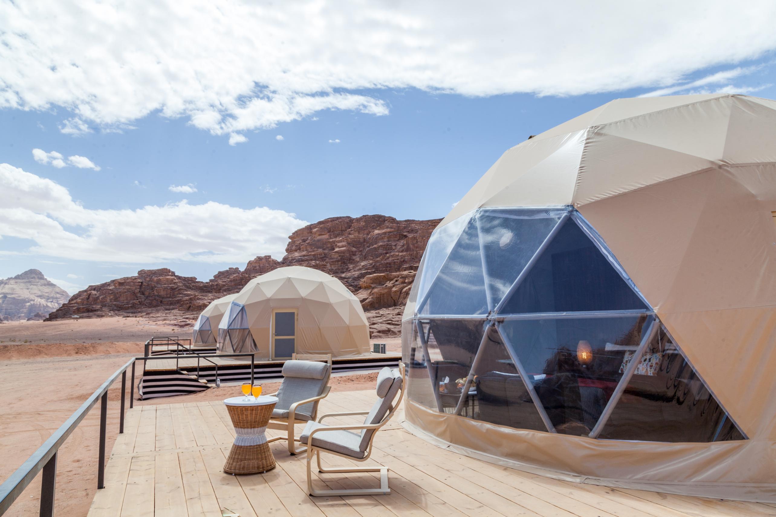 martian camping pods in wadi rum desert