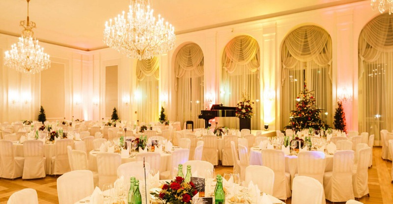 luxury dining room at christmas ball at kursalon