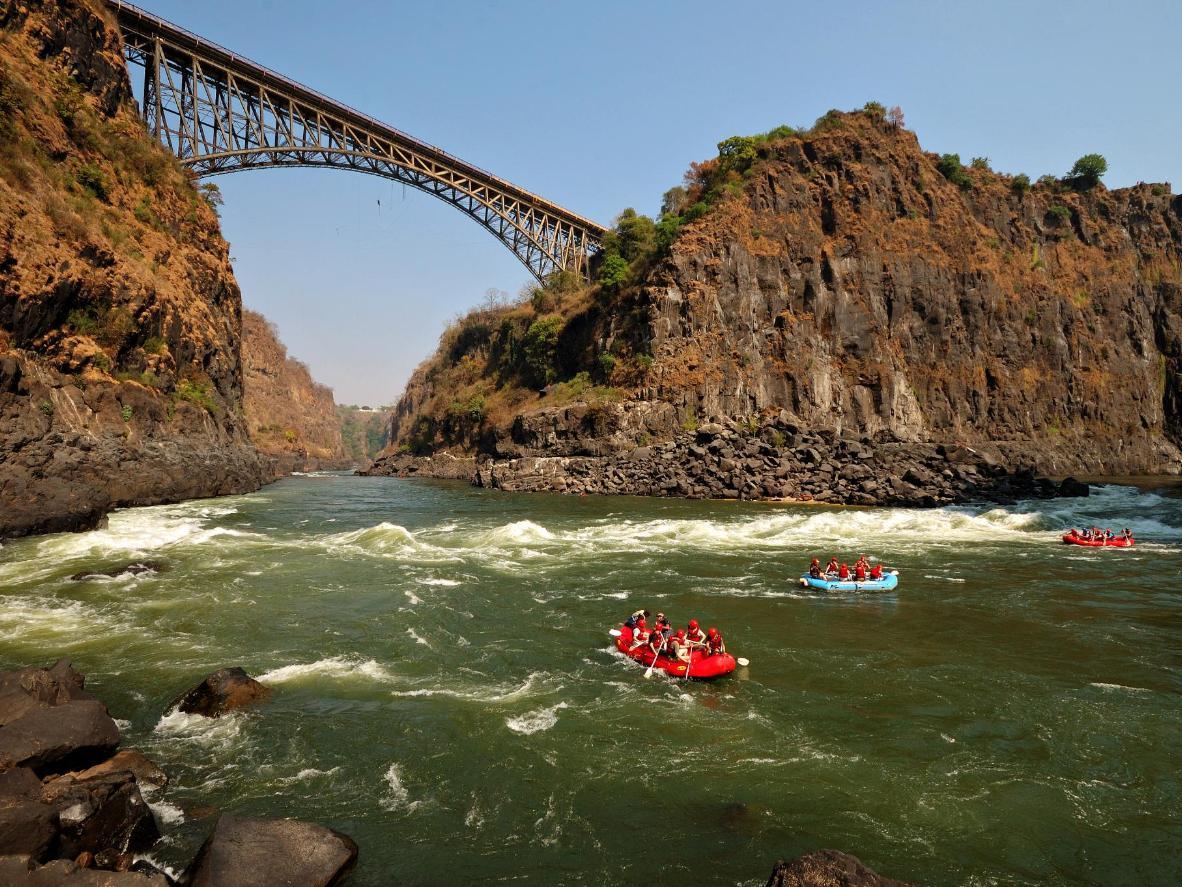 bridge over white water rafting in the zambezi river