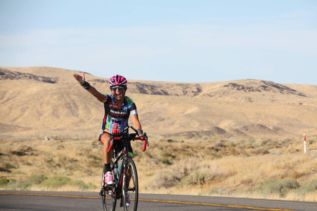 cyclist celebrating at silver state 508