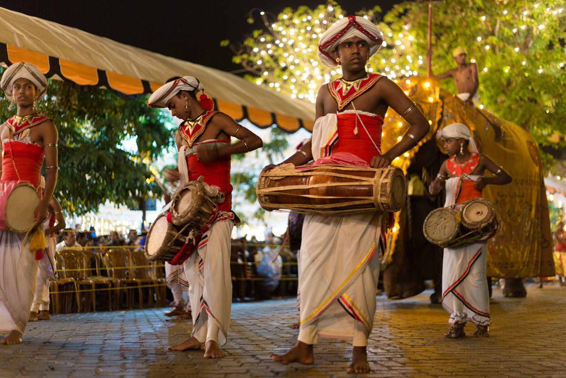 traditional drummers at esala perahera festival