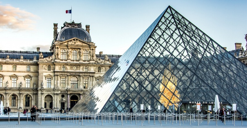 famous glass pyramid at laugh the louvre