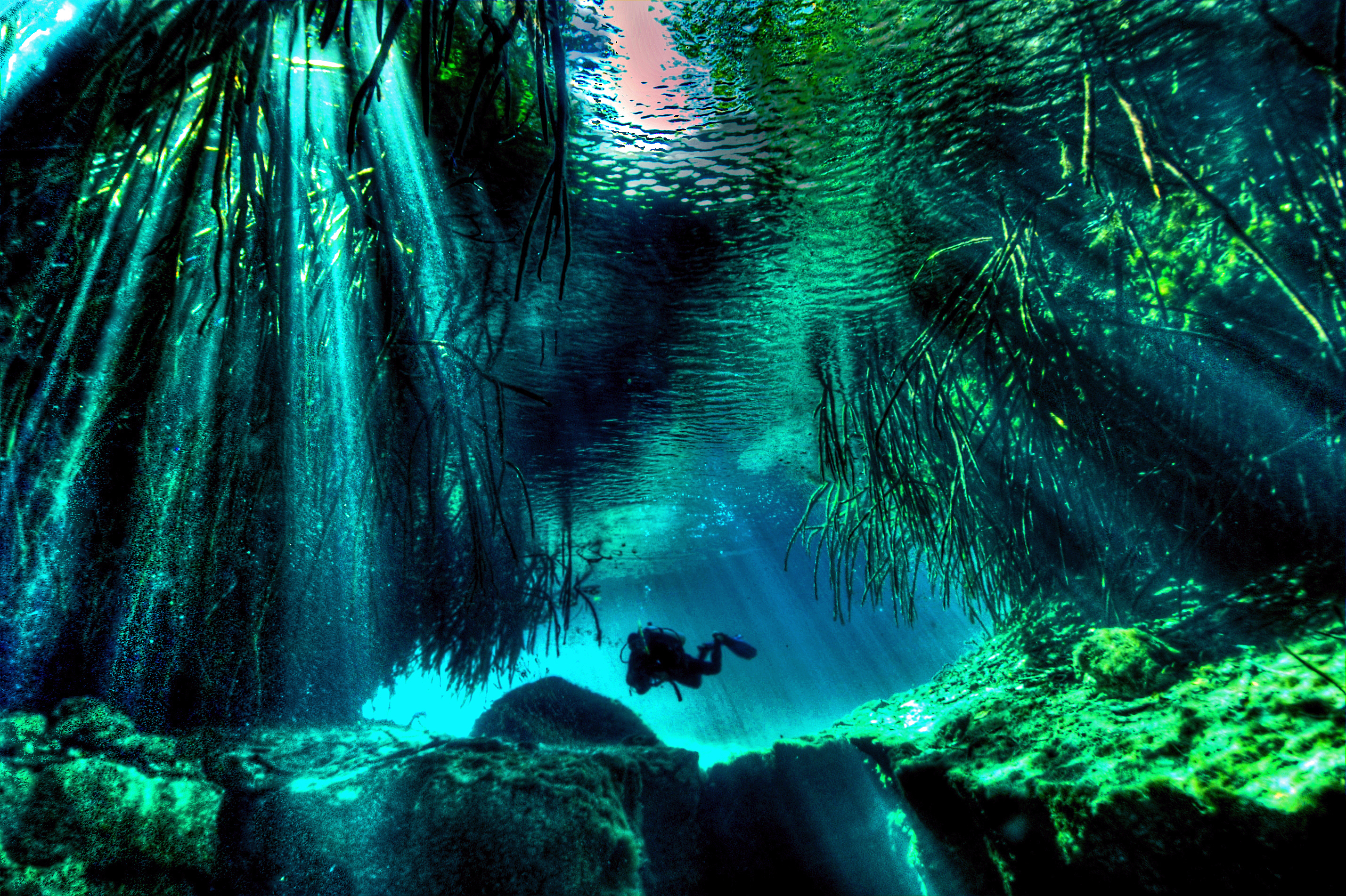 diver cavern diving in mexico