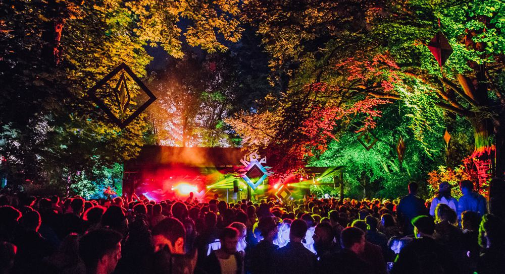 kelburn garden party crowds and lights in the forest