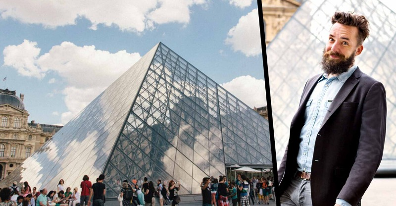 cedric from laugh the louvre and louvre pyramid