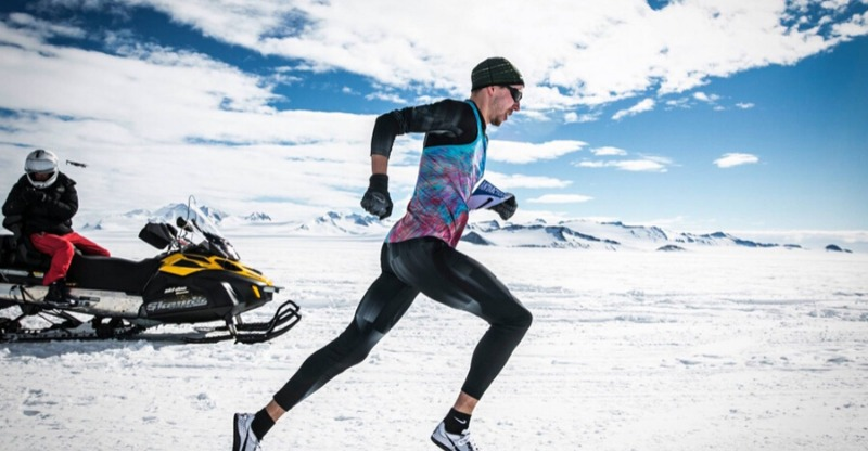 Antarctic marathon runner closeup