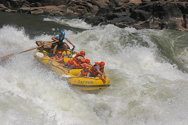 raft on white water in the zambezi river