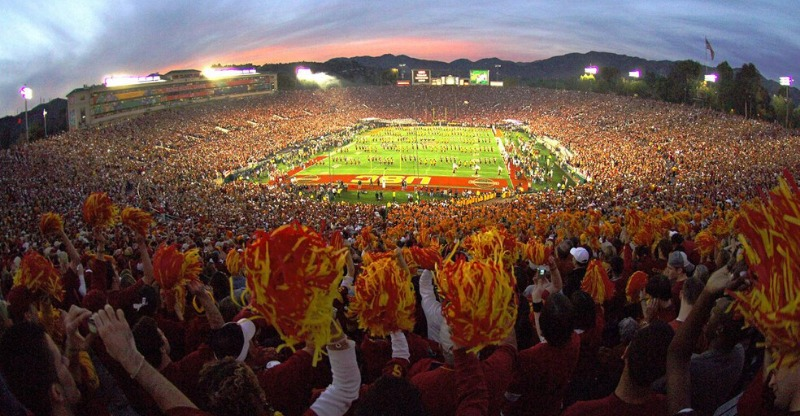 crowds at Rose Bowl stadium