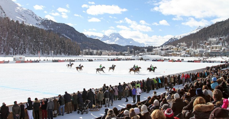 cartier snow polo world cup riders on snow pitch and audience