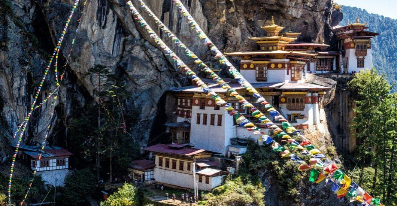 tiger's nest and prayer flags, bhutan