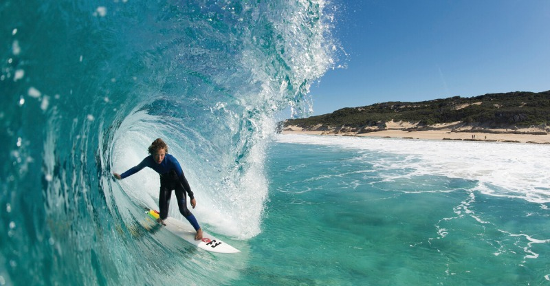 surfer in big wave at margaret river
