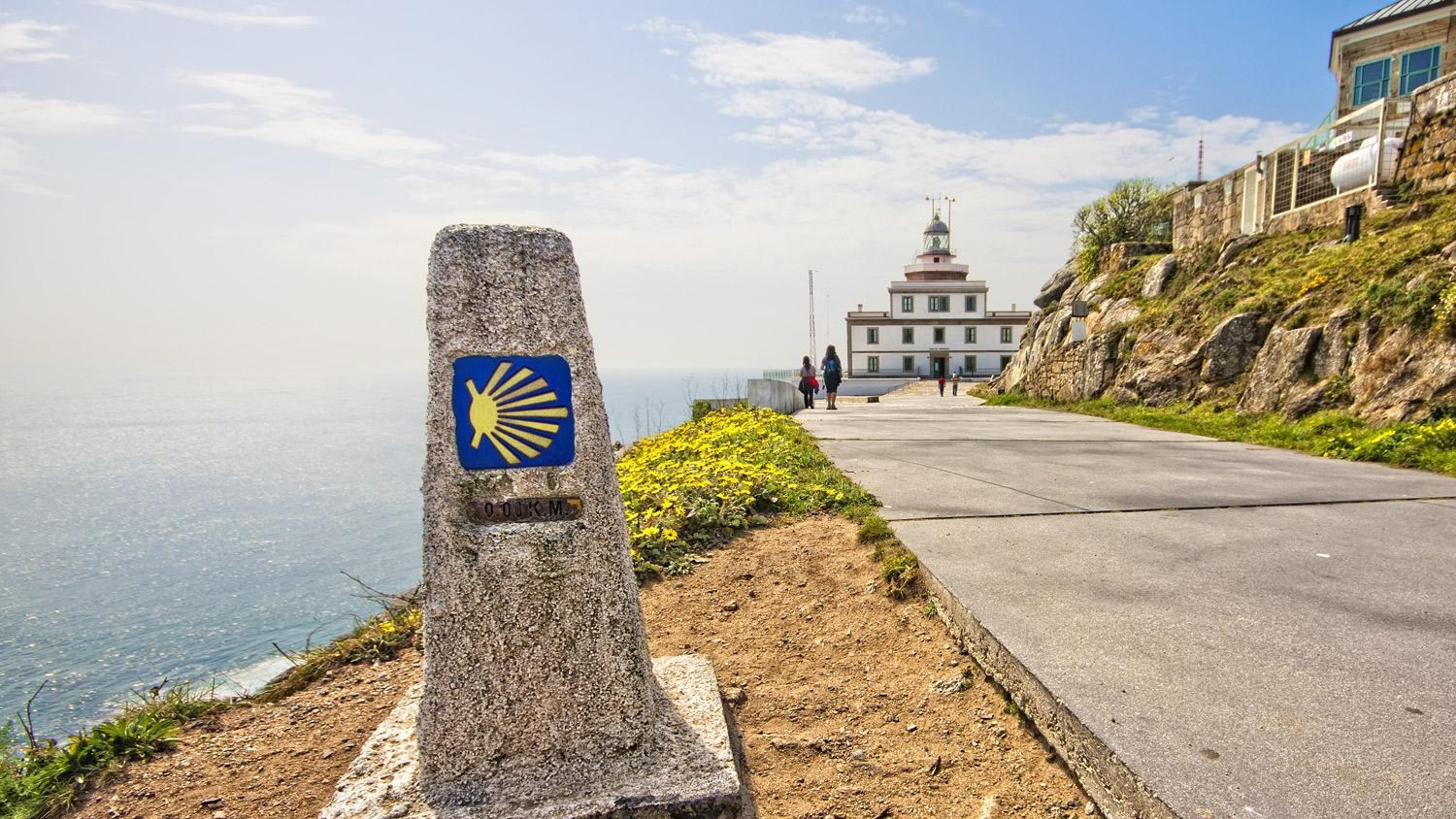 camino de santiago route marker on coast