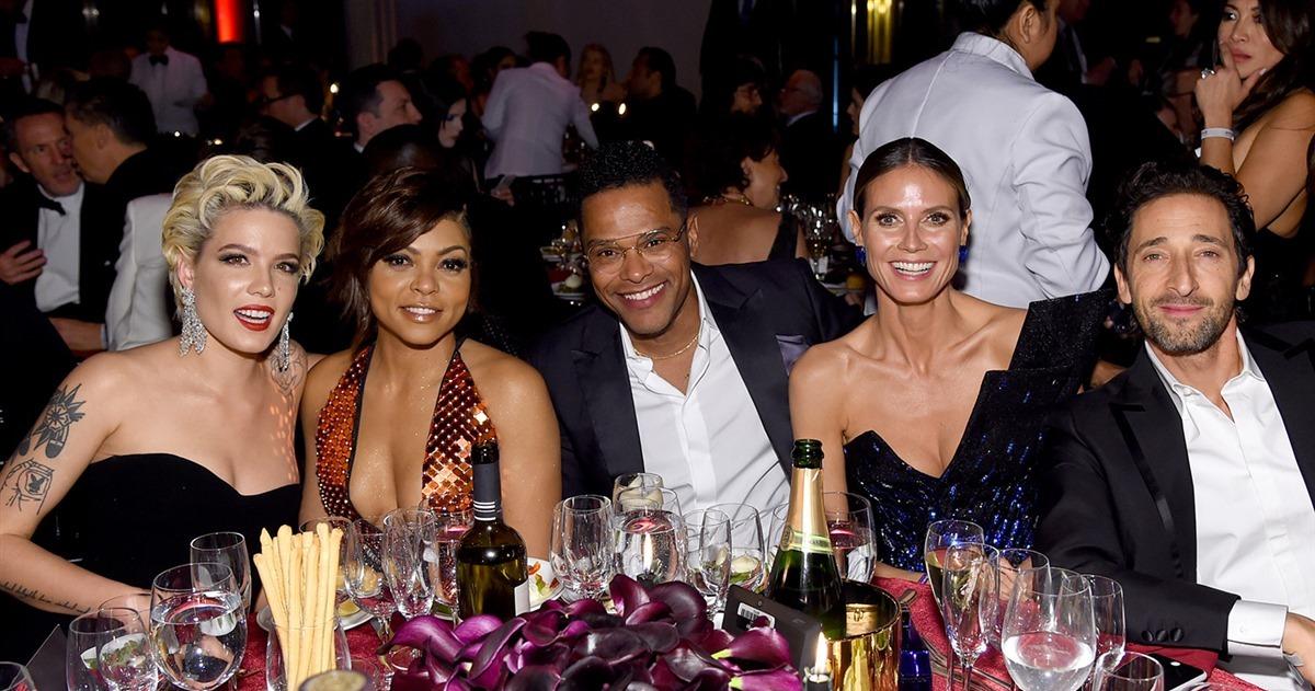 amfar gala celebrities at table