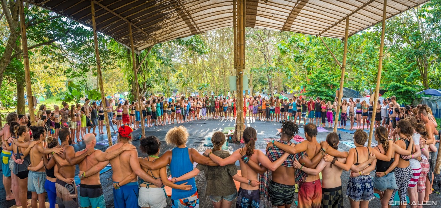 attendees in circle at envision festival costa rica