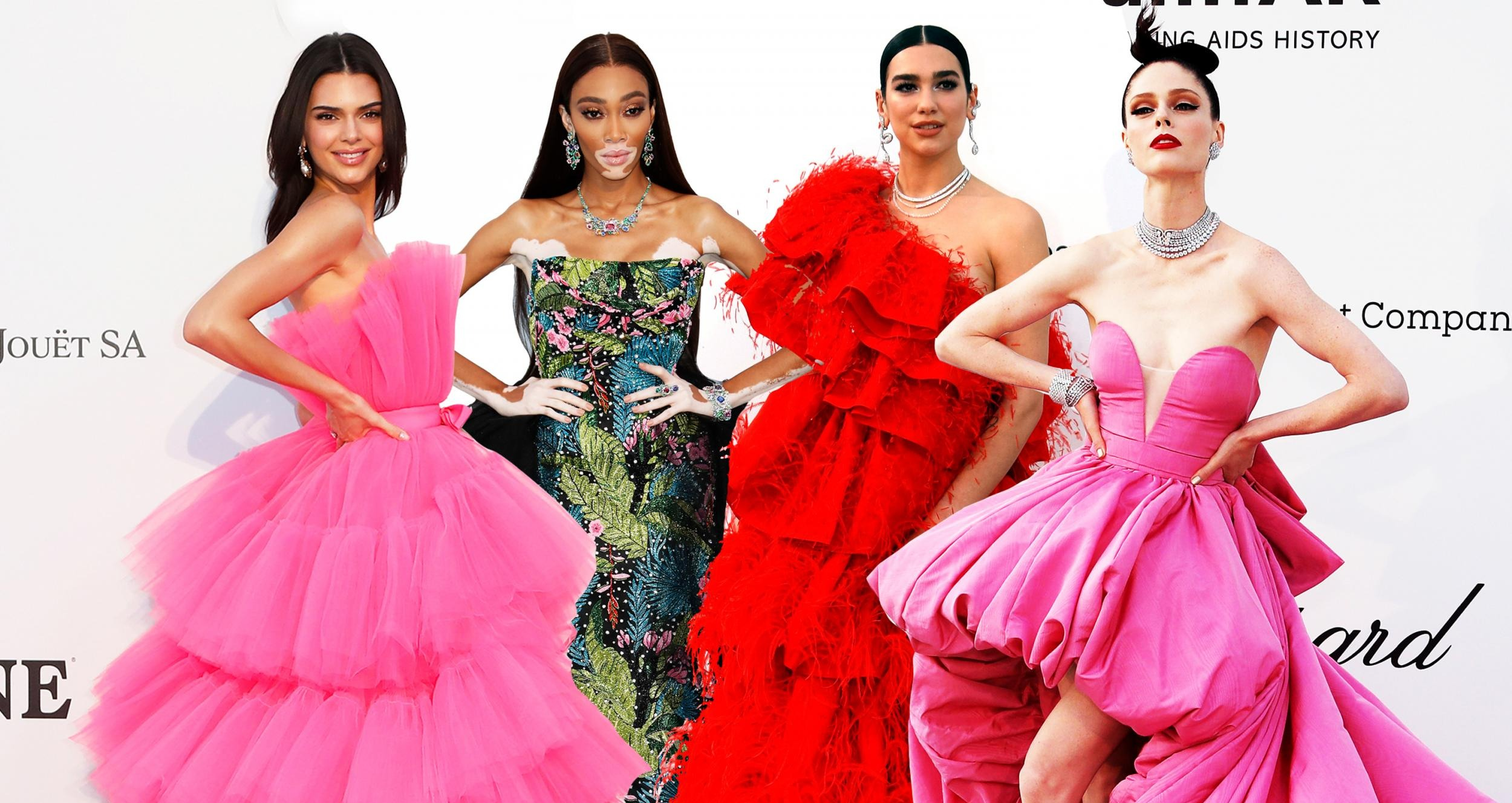 amfar gala celebrities in pink and red high fashion gowns