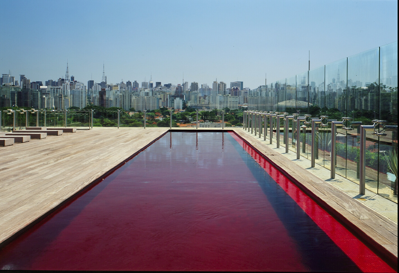 hotel unique roof pool with view of Sao Paulo skyscrapers