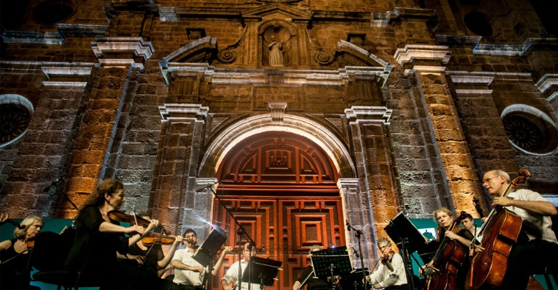 cartagena music festival orchestra in front of historic building