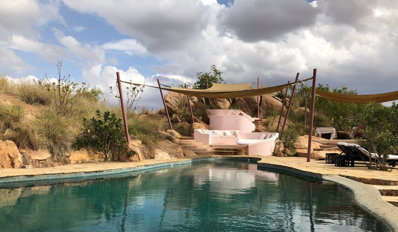 santuary at ol lentille pool with canopy seating