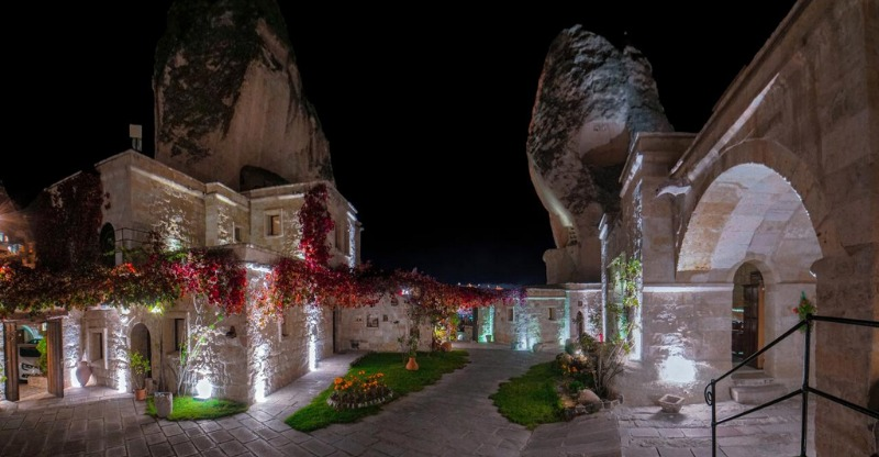 Anatolian cave houses at night