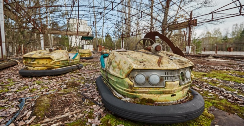 abandoned bumper cars seen on chernobyl tour