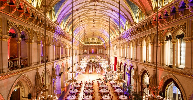 beautiful historic city hall for the new year ball in vienna