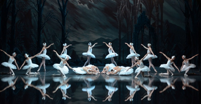 swan lake ballerinas on stage and reflections
