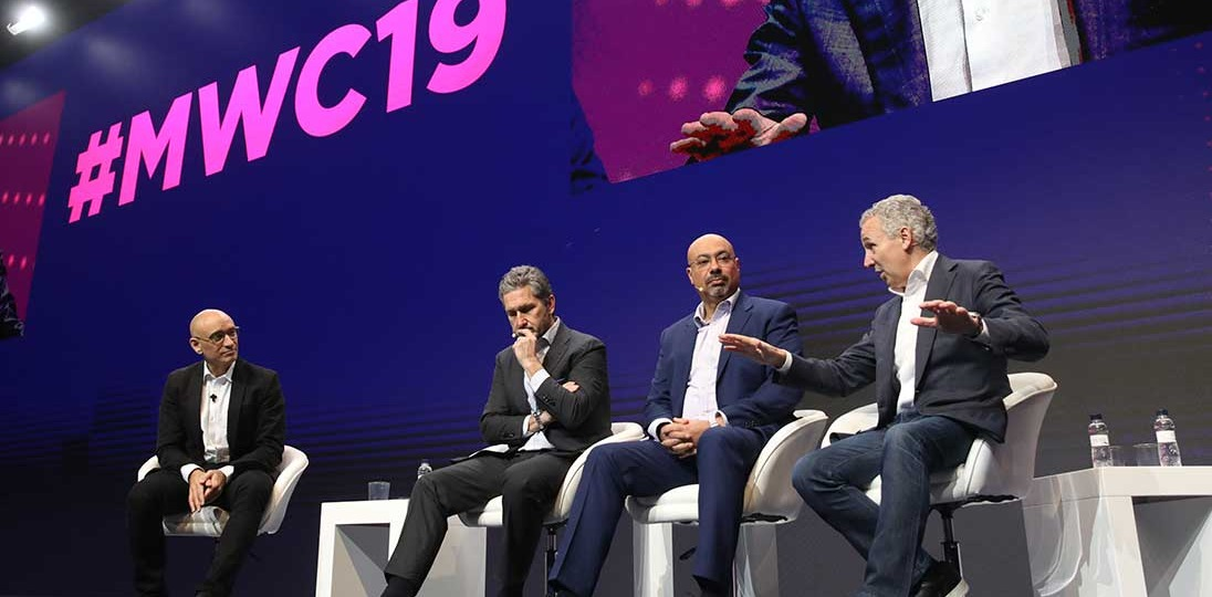 speakers on stage at mobile world congress barcelona