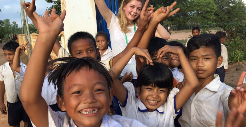 group of smiling children on teach english in nepal programme
