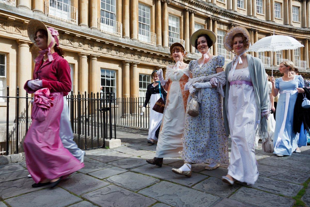 women in regency dress on Jane austen tour