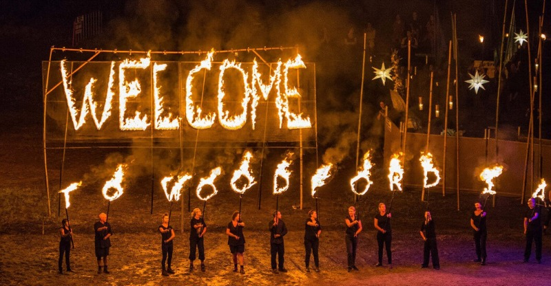 welcome to woodford folk festival in fire